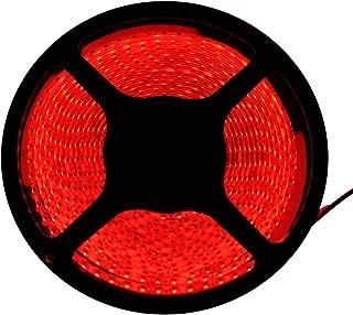 FAVOLCANO LED Strip Light, Red Color, 16.4FT 5M SMD3528, IP65 Waterproof, 600LEDs, 120 LEDs/M, Flexible Rope Light for Car, Bar, Club, Home Decoration