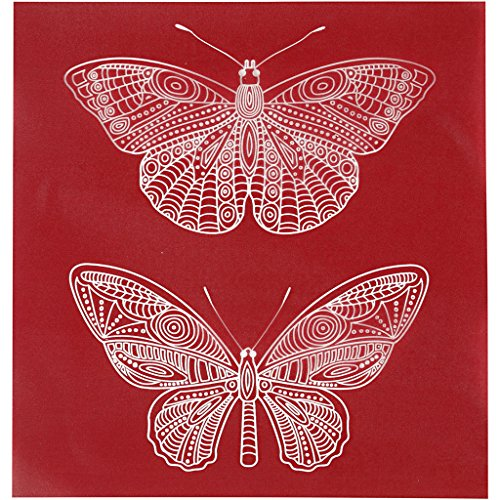 Plantilla / stencil adhesivo, hoja 20x22 cm, Mariposa, 1hoja