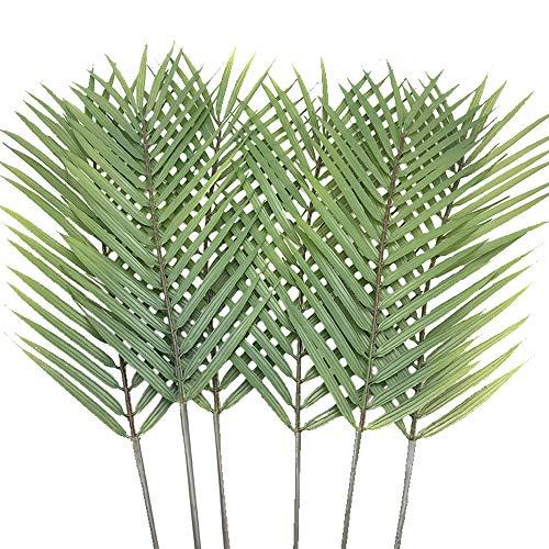 """Aisamco 6 Stück Faux Palmblätter Palmwedel Künstliche Tropische Palmblätter Palmblatt Faux Monstera Blätter 29\""""in Hoch für Zuhause Hochzeit Palm Hawaiian Leaves Dekorationen"""