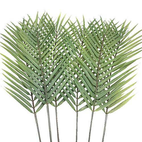 Aisamco 6 Stück Faux Palmblätter Palmwedel Künstliche Tropische Palmblätter Palmblatt Faux Monstera Blätter 29