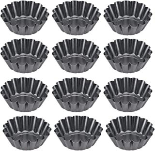BESTONZON 12pcs Mini Tart Pans Mini Pie Tin Tartlet Pan,Mini Cupcake Cookie Pudding Mold Muffin Baking Cups - Cooking Mold...