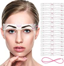 Eyebrow Stencils, Rifny 12PCS Eyebrow Shaper Kit, Reusable Eyebrow Template with Strap, 3 Minutes Makeup Tools For A Variety of Face