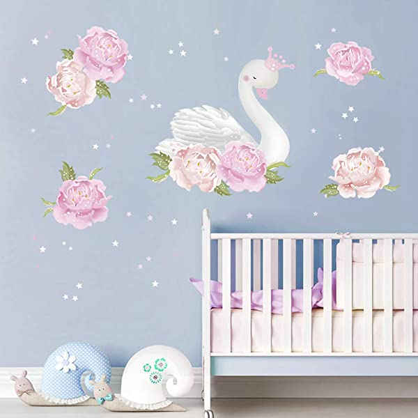 Decalmile Peony And Swan Wall Decals Flower Girls Wall Stickers Girls Bedroom Romantic Room Wall Decor