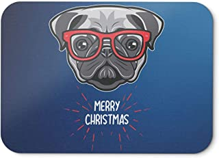 BLAK TEE Cute Pug Dog with Santa Glasses Wishing Merry Christmas Mouse Pad 18 x 22 cm in 3 Colours Blue
