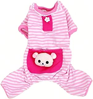 Pet Dog Pajamas Soft Strip Cotton Shirt Jumpsuit Cute Dog Cat Cool Clothes Apparel for Play Sleep