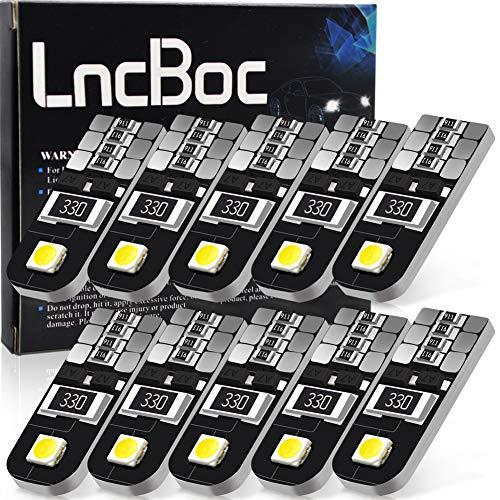 LncBoc Bombillas T10 Canbus 501 LED Coche 2SMD 2835LED W5W 2825 175 192 168 194 Wedge Lampara para Coches 6500K Xenón Blanco de Interior y Exterior 12V Paquete de 10