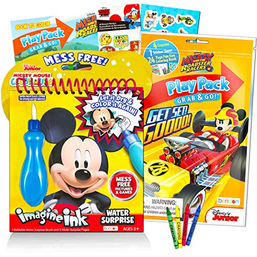 Disney Shop Mickey Mouse Paint with Water Set for Kids Toddlers Bundle ~ Reusable Mess Free Imagine Ink Book with Water Surprise Brush with Mini Coloring Book and Stickers (Water Painting Kit)