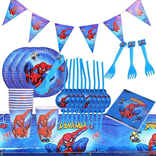 Accesorio de Decoración de Fiesta de Cumpleaño HANEL-62pcs Superhero Vajilla Contiene Platos Tazas Manteles Servilletas Tenedores banderín para Niños Niñas Decoración de Fiesta