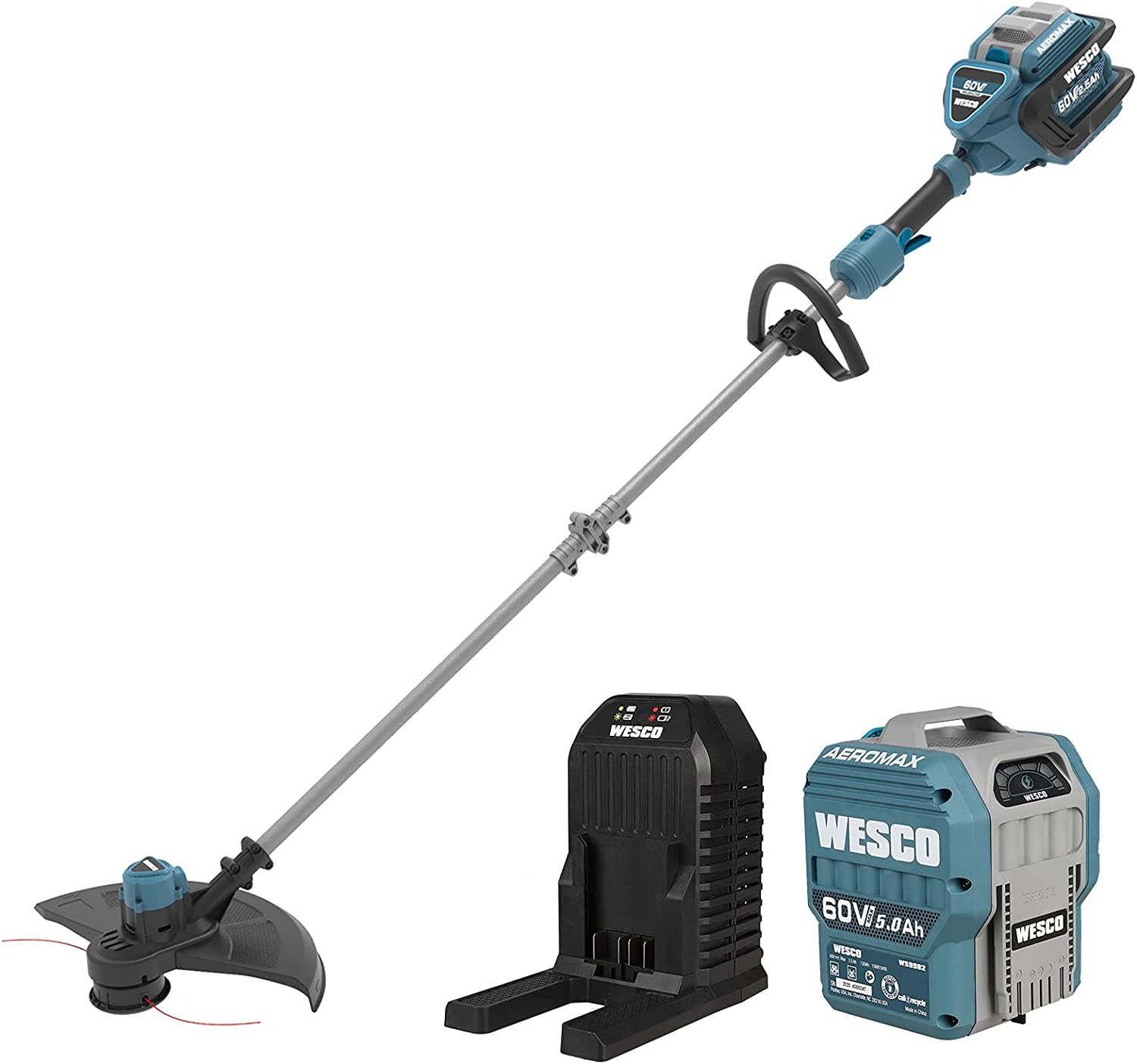 WESCO 60V Brushless Free shipping / New Cordless At the price of surprise String Cutting Pat 16-Inch Trimmer