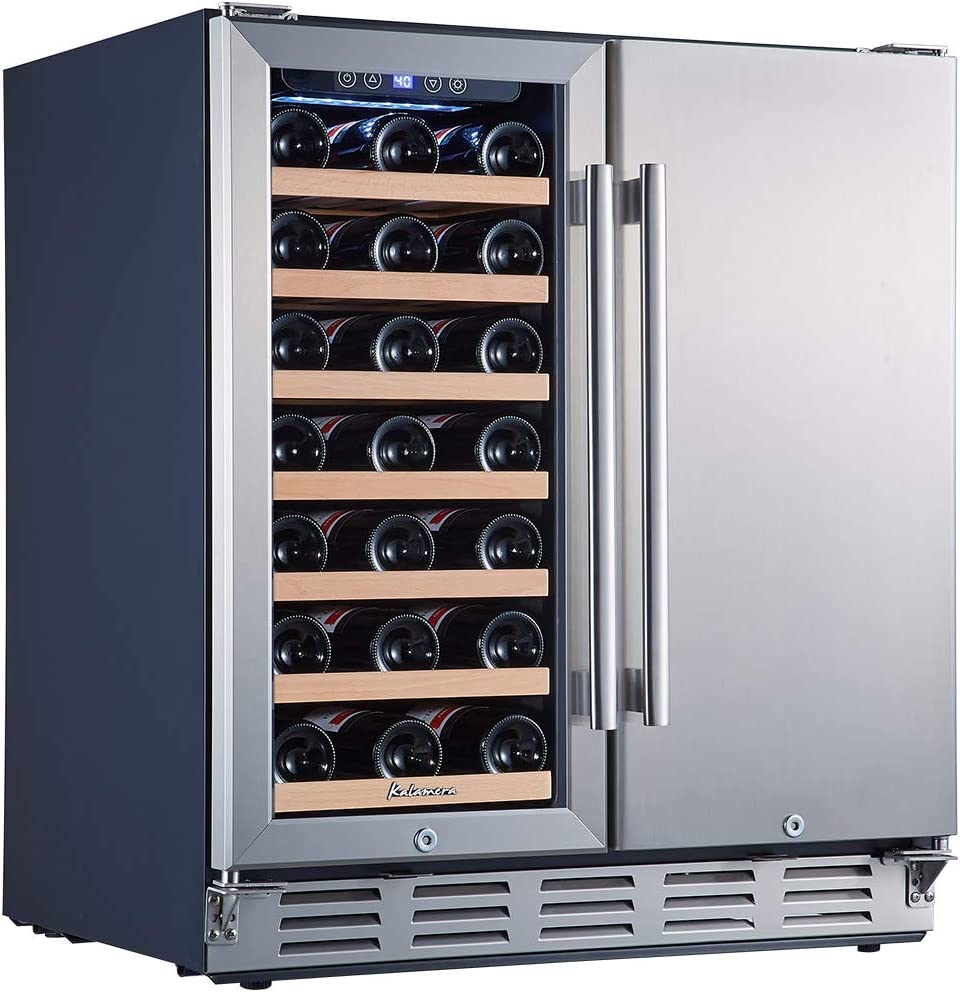 Bar Compact Refrigerator for Kitchen Kalamera Wine Cooler Refrigerator 2-in-1 Wine and Beverage Refrigerator Mini Wine Cooler for 21 Bottles Home 30-inch Stainless Steel Drink Chiller