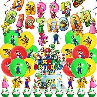 Ensemble de ballons Mario pour anniversaire - Décoration d'anniversaire - Compact - Bannière Happy Birthday - Décoration p...