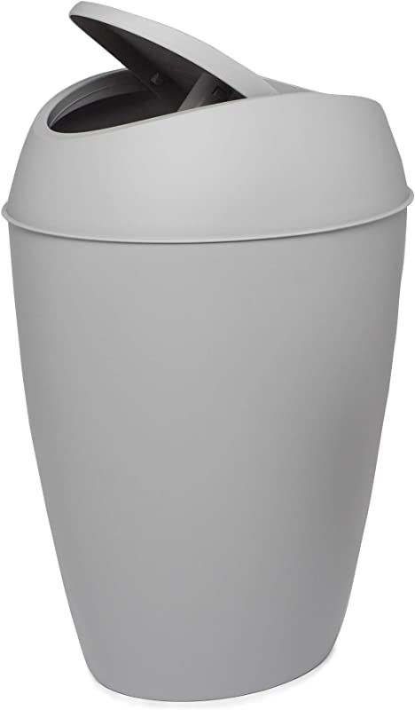 Umbra Twirla 2 4 Gallon Trash Can With Swing Top Lid Gray