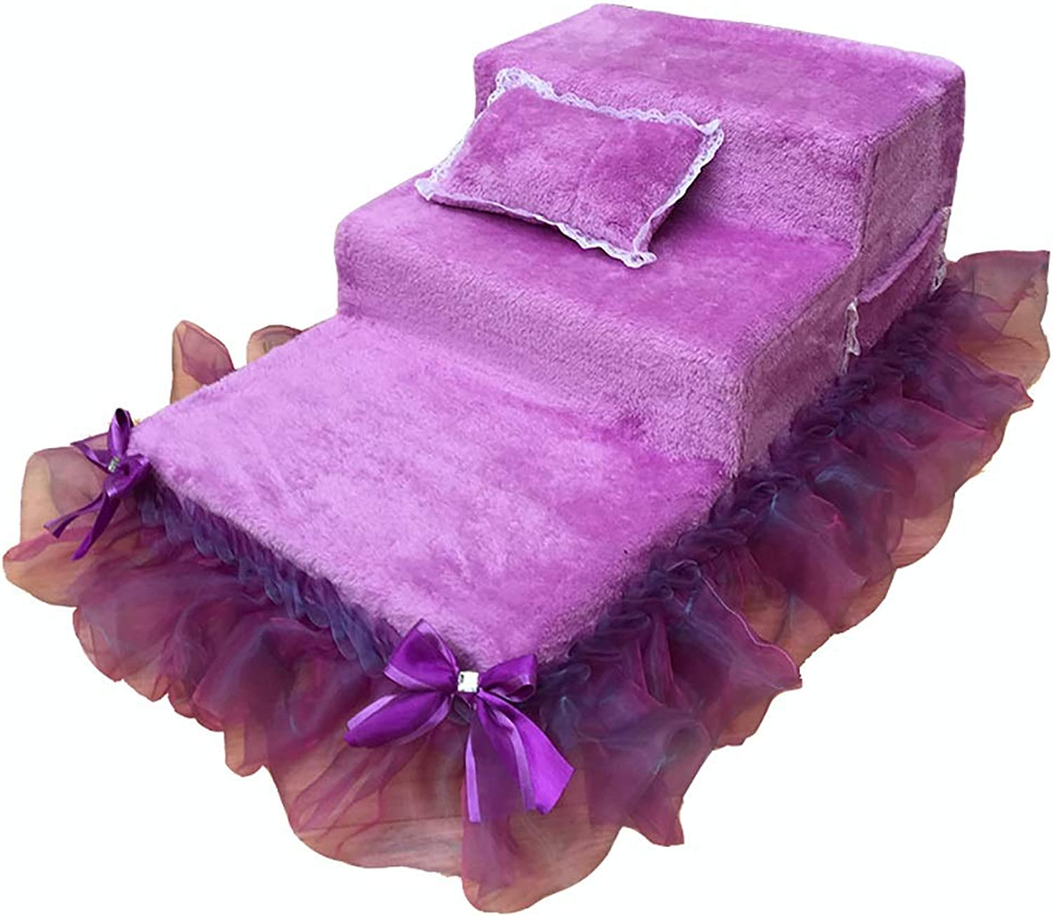 Pet Stairs Stairs & Steps Cat Dog 3 Steps for High Bed Sofa Chairs, Lightweight and Removable Cover  Purple