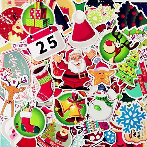 AhaSky [100pcs] Aufkleber, Weihnachten Sticker Set Wasserdicht, Stickerbomb für Auto Motorräder Laptop Fahrrad Skateboard Snowboard Gepäck