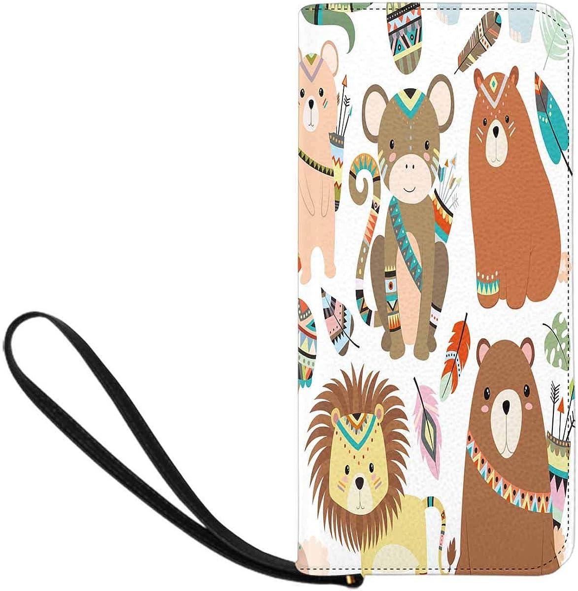 INTERESTPRINT Woodland and Jungle Tribal Animals Clutch Wallet Handbag for Party Wedding