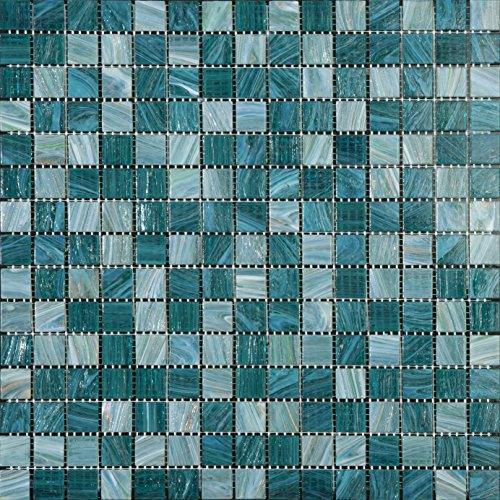 Mosaico de Vidrio en Malla DEC-74291AXS007, Verde, 4 mm, 32.7 x 32.7 cm, Set de 10 Piezas