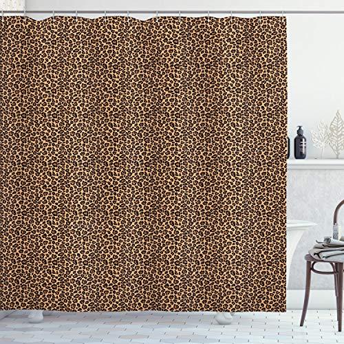 ABAKUHAUS Leopard-Druck Duschvorhang, Orange Exotische Afrikanische, Wasser Blickdicht inkl.12 Ringe Langhaltig Bakterie & Schimmel Resistent, 175 x 200 cm, Schwarz Orange