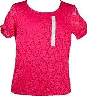 Ellen Tracy Womens Lace Detail Overlay Short Sleeve Shirt Top!