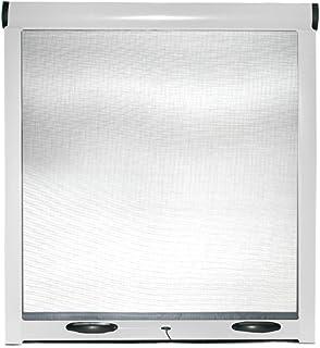 Mosquitera enrollable para ventanas, puertas, estructura de aluminio, 140 x 170 cm, color blanco, marrón - Kit Hágalo usted mismo