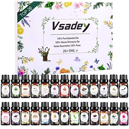 Essential Oils Set, VSADEY Aromatherapy Essential Oil Kit for Diffuser, Humidifier, Massage, Skin Care - Lavender, Eucalyptus, Peppermint, Sweet Orange, Tea Tree, Lemongrass, Bergamot (26 x 5ml)