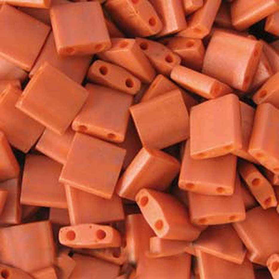 Burnt Sienna Orange Opaque Tila Beads 7.2 Gram Tube By Miyuki Are a 2 Hole Flat Square Seed Bead 5x5mm 1.9mm Thick with .8mm Holes