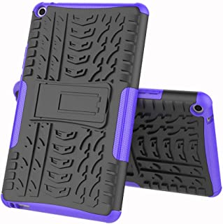 TenYll case For Huawei MediaPad T3 8.0, Shockproof Tough Heavy Duty Armour Back Case Cover Pouch With Stand Double Protective Cover Huawei MediaPad T3 8.0 Case -Purple