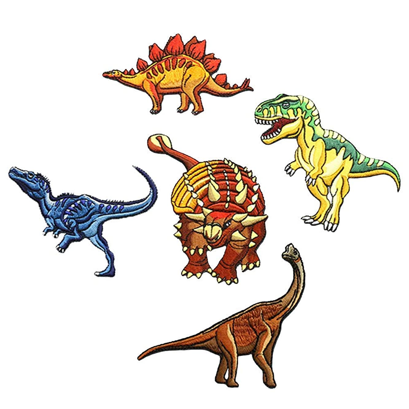 5 Pcs Dinosaur World Embroidered Patches,Jurassic Dinosaur Iron On Patches, Sew On Applique Patch,Dinosaur Park Cute Embroidery Patches, Cool Patches for Boys, Girls, Kids (T-Rex, Velociraptor, ECT)