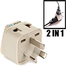 OREI Grounded Universal 2 in 1 Plug Adapter Type I for Australia, China, New Zealand and more - CE Certified - RoHS Compliant WP-I-GN