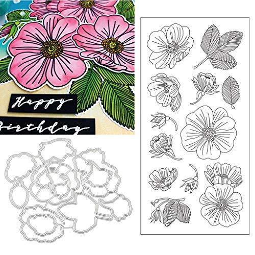 Bloom Flowers Silikon-Stempel mit Stanzformen, Schablonen-Set, DIY, Scrapbooking, Prägung, Fotoalbum, dekoratives Papier, Karten, Handarbeit