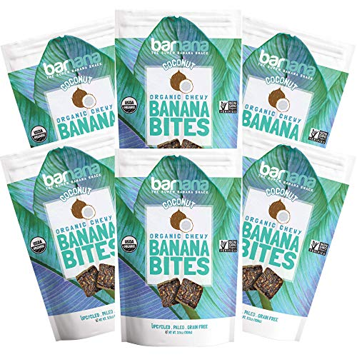 Barnana Organic Chewy Banana Bites - Coconut - 3.5 Ounce, 6 Pack Bites - Delicious Potassium Rich Banana Snacks - Lunch Dinner Sports Hiking Natural Snack - Whole 30, Paleo, Vegan