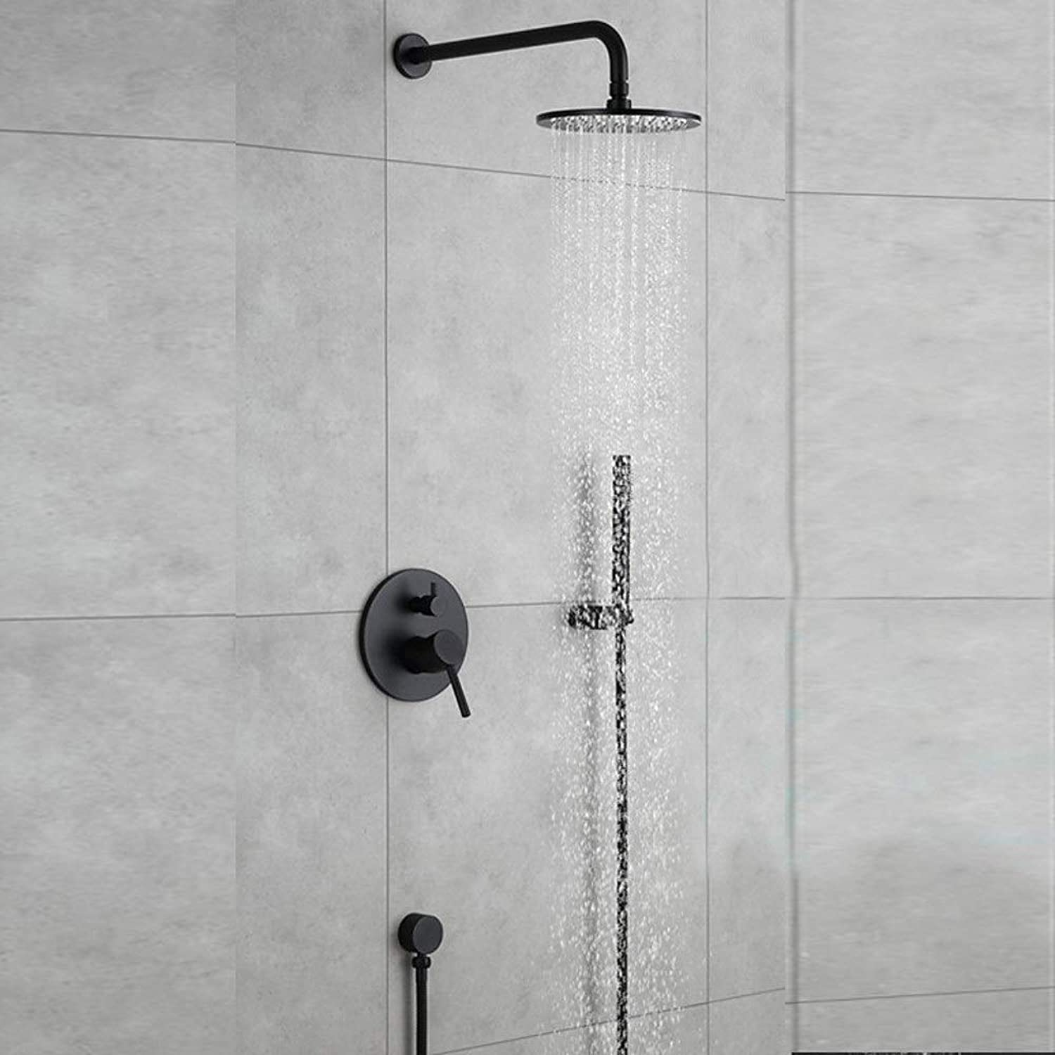 MQW In-wall Black Shower Set Hotel Concealed Wall-mounted Round Double Function Shower Faucet Shower System Beautiful and practical