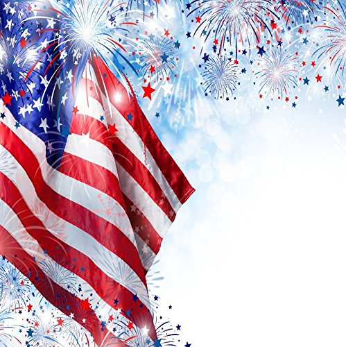 OFILA American Flag and Fireworks Photos Backdrop 8x8ft 4th of July Independence Day Photography Background National Flag Day Events Photo Shoot Memorial Day Background American-Themed Party Photos