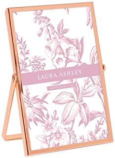 Laura Ashley 4x6 Rose Gold Flat Metal Picture Frame (Vertical) with Pull-Out Easel Stand, Made for Tabletop, Counterspace,...