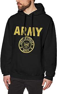 huatongxin Us Army Gold Crest Flag Moda Hombre Sudaderas de Manga Larga Sudaderas con Capucha sin Bolsillo