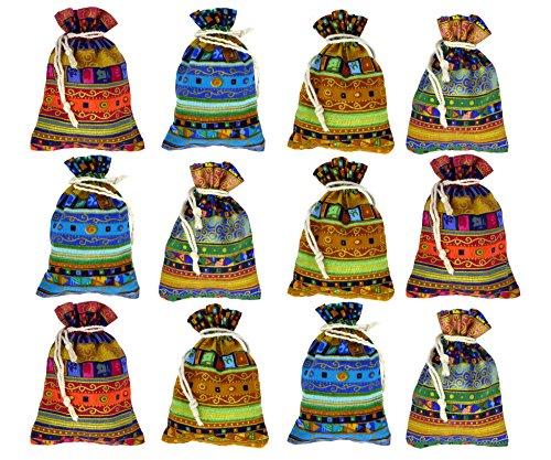 12 bunte Schmuck-Beutel Geschenk-Beutel Säckchen mit Kordelzug/Tunnelzug im ethnischen/azteken/ägyptischen Stil als Geschenk-Päckchen oder für Hochzeit Party Süßes Reisen