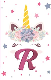 Initial Notebook R: Cute Monogram Initial Notebook Letter R Cute Unicorn Journal and sketchbook for Kids Personalized Writ...