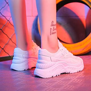 2019 New Sports Shoes Female Korean Version of The Summer Flame Net Red Women's Shoes Old Shoes Wild (Color : White, Size : 39)