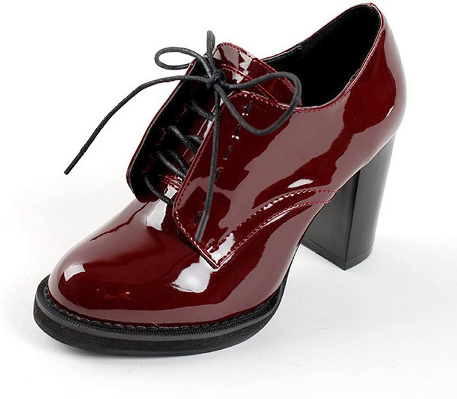 AmoonyFashion Womens Closed Round Toe High Heels PU Patent Leather Solid Boots with Chunky Heels, Claret, 10 B(M) US