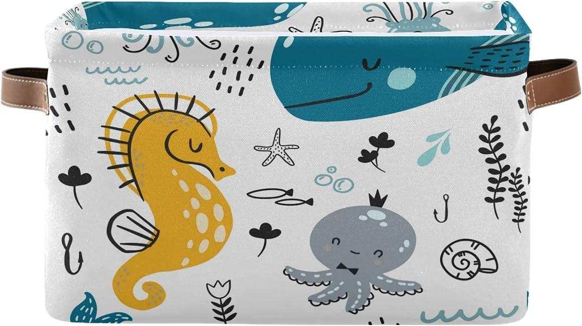 KUWT Cute Minneapolis Mall Ocean Seahorse Octopus Sea Basket Gifts Storage Animal Bins