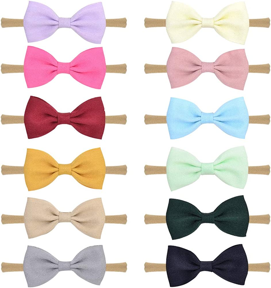 12pcs Baby Girls Flower Headbands and Bows Nylon Elastic Hair Bands Hair Accessories for Infants Toddlers Newborn