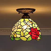 Tiffany Style Ceiling Light,Stained Glass Dragonfly Shade Flush Mount Ceiling Lamp,Vintage Ceiling Lighting Fixtures for L...