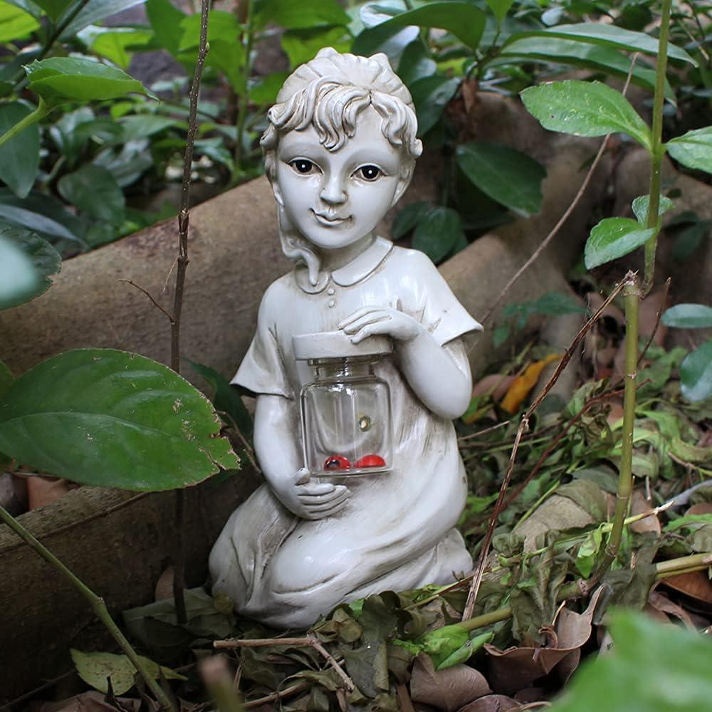 Tiemahun Garden Solar Children Statues – Boy & Girl Statues Creative Resin Kids Figurines Art Sculptures for Outdoor Lawn Patio Yard Decor, Ornament Decoration Gift (Girl)