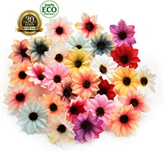 silk flowers in bulk wholesale Rose Artificial Silk Daisy Rose Flowers Wall Heads Home Wedding Decoration DIY Wreath Accessories Craft Fake Flower 80Pcs 5cm (Multicolor)