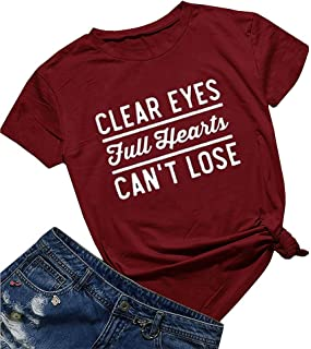 AEURPLT Friday Night Lights Clear Eyes Full Hearts Can't Lose Women Summer T Shirt Tops Graphic Tees