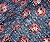 0,5m Jersey Jeans Look - Marienkäfer - dunkelblau