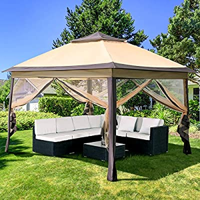 PAMAPIC 11x11 Pop Up Gazebo with Mosquito Netting Outdoor Canopy Tent Gazebo for Patio,Deck and Backyard