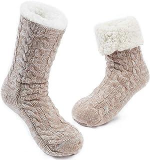 Calcetines Antideslizante Mujer Tejer Doble Lana Calcetines de Casa Invierno Regalo de Navidad