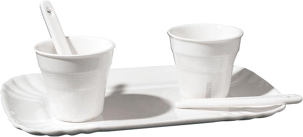Seletti, set: 2 bicchierino caffe`piu` 2 palettine piu`1 vassoio cm.13x20, in porcellana URQ-037