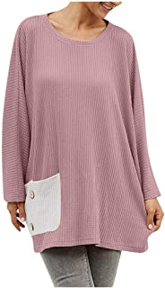 Remanlly Women's Fashion Long Sleeve Plus Size Crewneck Top Patchwork Print T-Shirt Pullover Sweatshirt Blouse