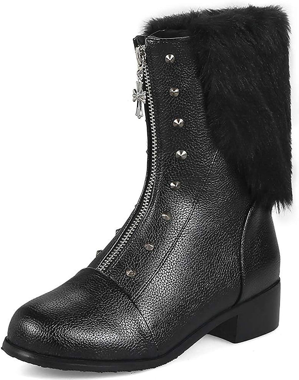 Lelehwhge Women's Unique Studded Rivet Faux Fur Round Toe Low Block Heel Short Boots with Zipper White 6 M US